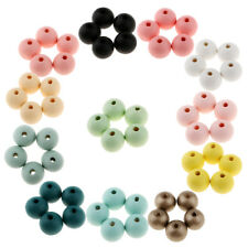 30pcs Wood Bead Spacer Round Ball Natural Wooden Dyed Spacer Beads 18mm DIY