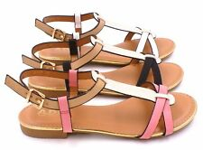 WOMENS GLADIATOR SANDALS LADIES FLAT STRAPPY ANKLE BUCKLE SUMMER BEACH SHOES