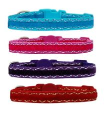"PINK TURQUOISE PURPLE or RED ""VELVET "" chihuahua dog puppy collar & or lead"