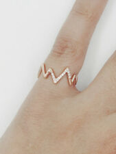 Vital Sign Diamond Set Ring | 14K Solid Gold Diamond Ring | Unique Ring