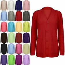 Women Grandad Cardigan Ladies Button Up Long Sleeve Chunky Cable Knit Pocket Top