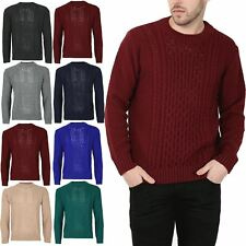 Mens Boys Cable Knitted Long Sleeve Crew Neck Knitwear Sweats Sweater Jumper
