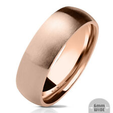 316L Stainless Steel Rose IP 6mm Matte Finish Comfort Fit Band Ring, Sizes 5-13