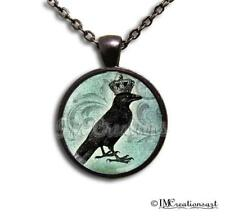 Handmade Glass Dome Bezel Pendant Necklace Royal Crowned Crow Raven Gothic GM110