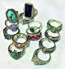 Size 9 Rings - 925 Silver, With Gemstones - Fine Jewelry