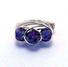 Womens Sterling Silver Plated purple Wire Wrapped ring handmade jewelry