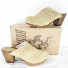 BOSABO Women's Shoes Mules 39 41 Clogs Leather High-Heeled Sandals Beige NP 235