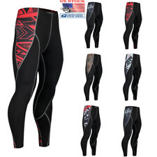 Mens Sport Gym Elastic Tight Compression Base Layer Pants Long Leggings Trousers