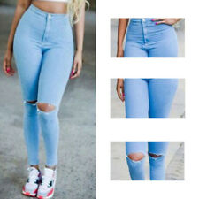 Trousers Casual Women Skinny Broken Pants Stretch High Waist Pencil Hot Jeans