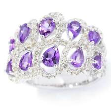 Sterling Silver Amethyst and White Topaz Two-row Swirl Ring