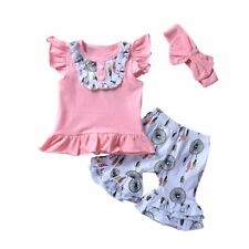3pcs Toddler Kids Baby Girls Clothes T-shirt Tops+Short Pants Summer Outfits Set