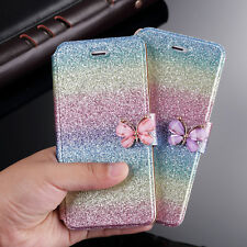 For iPhone Ultra-thin Rainbow Bling Leather Magnetic Card Pouch Stand Case Cover
