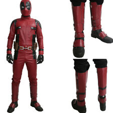 Deadpool Shoes Movie Cosplay Adult Side Zipper Knee High Boots Covers Red Black