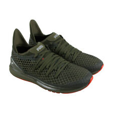 Puma Ignite Limitless Netfit Mens Green Textile & Mesh Sneakers Shoes