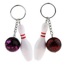 Bowling Pin and Ball Key Chain Ring Bag Plastic Pendant Keychain Charms Gift