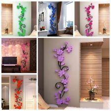 US 3D Flower Beautiful DIY Mirror Wall Decals Stickers Art Home Room Vinyl Decor