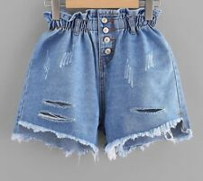 Women's Denim Ripped Shorts High Waist Button Fly Stretchable Stylish Cute Wears