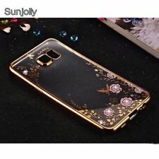 Samsung Galaxy S9 S8 S7 Flower Soft Phone Case Rose Gold Bling Rhinestone Cover