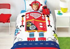 Cubby House Kids Boys Robot Bob DOUBLE Size Reversible Quilt Doona Cover Set