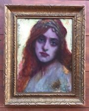 Antique Portrait Painting LOVELY GIRL Signed Monogram Research Needed STUNNING