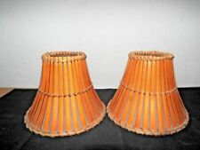 """LAMPSHADES A PAIR UNIQUE 6""""H x 7.5w FANCY RATTAN STRIPPED SPECIALTY LAMPSHADES"""