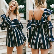 Womens Fashion One Shoulder High Waist Wide Leg Asymmetric Jumpsuit Pants Shorts