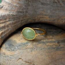 Green Chalcedony Gemstone 22k Yellow Gold Plated Hammered Rings Jewelry