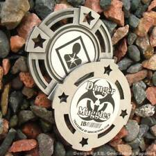 "Danger: Muggles! 2"" Geomedal Geocoin with Cutouts (Antique Finish Colour)"