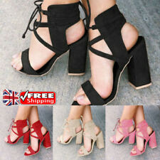 UK WOMENS BLOCK HIGH HEELS LACE UP SANDALS CASUAL PARTY SLINGBACKS SHOES SIZE