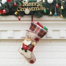 Christmas Stockings Plaid for Party Children Kids Candy Bag Socks Gifts Decor