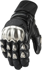 Mens Icon Black Timax Leather Motorcycle Riding Street Racing Gloves Harley
