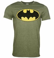 Official Men's Khaki Distressed Batman Logo T-Shirt