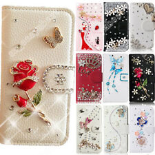 Bling PU Leather Wallet Card Slot Case Cover Rhinestone Flip Stand Shell For HTC