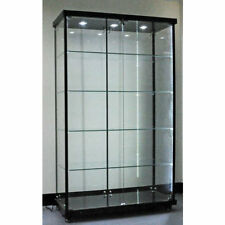 Titanium Alloy FULL Glass Display Cabinet with LED Downlights Strips BLACK FLAT