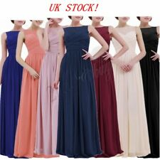 UK Sexy Women Chiffon Lace Prom Party Evening Gown Wedding Bridesmaid Long Dress