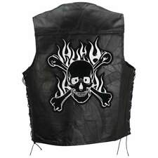 Diamond Plate™ Rock Design Genuine Buffalo Leather Motorcycle Vest