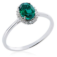 10k White Gold Created Emerald and 1/10ct TDW Diamond Ring