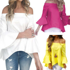 Women's Long Bell Sleeve Ruffled Casual Blouse Off-Shoulder Party Shirt Sexy Top