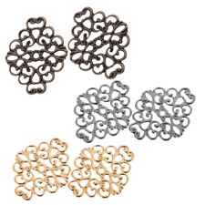 50x Gold Bronze Silver Tone Filigree Wraps Connector Embellishments Findings