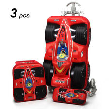 Kid Racing Car Travel Luggage Carry On School Trolley Bag Backpack Book Suitcase