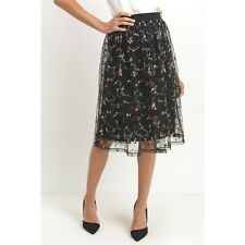 Boutique Floral Embroidered Tulle Skirt in Black Fully Lined Midi New S M L