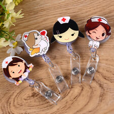 Cartoon Student Nurse Leather ID Badge Holder Card Holder with Retractable Clip