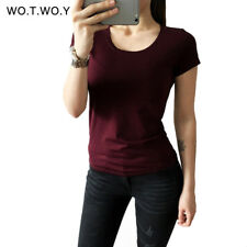 High Quality 21 Candy Color Cotton Basic T-shirt Women Casual O-neck Female Tee