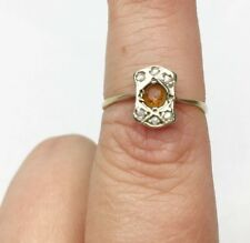 ANTIQUE VICTORIAN SOLID 9CT GOLD CITRINE SEED PEARL CLUSTER LADIES RING SIZE P