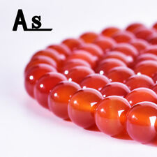 Natural Red Agate Gemstones Beads Round Loose Stone Bead for Jewelry Making 15""
