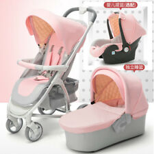 Luxury Baby Stroller 3 in 1 High View Pram Foldable Pushchair Bassinet &Car Seat