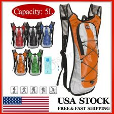 5L Hydration Sport Backpack Rucksack 2L Straw Water Bladder Bag Hiking Camping