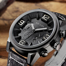 Megir Men Quartz Analog Sport Wrist Watch Alloy Case Chronograph Leather Band