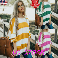 Women Long Sleeve Stripe Loose Tunic Tops Blouse Sweater T Shirt Oversize Autumn