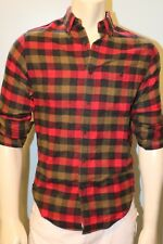 J CREW Men Cotton Wool Elbow Patch Red Tattersall Shirt NwT Xs